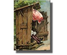 Eine Frau mit Schirm in Damen Nebengebäude WC Badezimmer Bild auf Gespannte Leinwand, Wand Art Decor bereit zum Aufhängen.., holz, 11 x 14