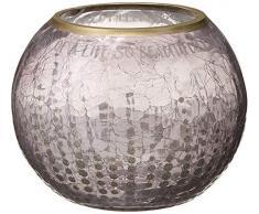 Teelichthalter Pavillon – goldfarben glitzernd gepunktet Crackled Grau Glas rund 12,7 cm – In Memory of A Life So Beautifully Lived