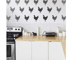 Geprägte Designs Set von 12 Vinyl-Wandstickern - Hühner - je 22,9 x 17,8 cm - Moderne süße Landwirtschaft, Hühner, Zuhause, Küche, Schlafzimmer, Kinderzimmer, Wohnzimmer, Spielzimmer, Wohnzimmer, Arbeitsmuster, Dekoration.