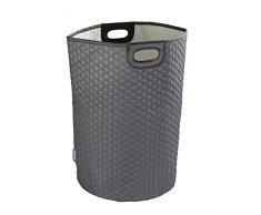 Wenko 62037100 Wäschesammler Wabo-/Wäschekorb Fassungsvermögen: 75 l, 40 x 60 x 40 cm, grau