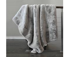 Tahari Überwurf aus nerzartigem Webpelz Luxus seidig weiche Decke in Creme Weiß, Polyester-Mischgewebe, Grey Ice, 50Wx60L