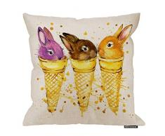 HGOD Designs Kaninchen-Kissenbezug, lustige Tier-Hase im Eiscreme, süßes Design, Baumwolle, Leinen, Polyester, dekorative Wohndekoration, Sofa, Couch Schreibtisch, Stuhl, Schlafzimmer, 40,6 x 40,6 cm 18x18 Inch A5-0042