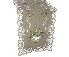 Linens, Art and Things Bettwäsche, Art und Things Bestickt Grün Leaf auf Antik Grün Stoff Tischläufer Dresser Schal Couchtisch Spitzendeckchen 40,6 x 114,3 cm