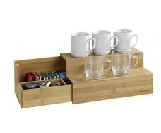 WENKO 53030100 Bambus Treppe für Kaffee und Tee, Küchenregal mit Schublade, Bambus, 33 x 17.5 x 15 cm, Braun