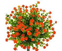 kingbuy Künstliche Blumen 5 Bündel Outdoor UV-beständig Pflanzen Sträucher Kunststoff Blätter Fake Büsche grün für Pflanzen Blumentopf für drinnen Außen Aufhängen Home Terrasse Yard Garten Decor Fenster Box Orange