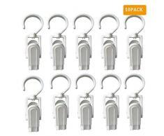 EvaGO Wäscheklammern mit Haken für Zuhause, Büro, Werkstatt, Reisen, 10,9 cm, Weiß, 10 Stück