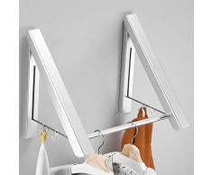 Uheng ausziehbarer Kleiderständer - wandmontierter faltbarer Kleiderbügel & Wäscheständer für Wäschezimmer, Schrank, Aufbewahrungsorganisation, Aluminium, für Badezimmer, Schlafzimmer, Balkon 2 Pack Clothes Rack With 15 Rod