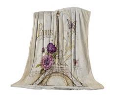 Gogobebe Flanell-Fleece-Überwurfdecke für Sofa, Couch Bett, Weihnachten, Elchrot, weich, gemütlich, leicht, für Erwachsene / Kinder 49x79in Paris Eiffelturm 1goo8867