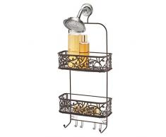 iDesign Hänge-Duschablage aus Metalldraht, extra breiter Platz für Shampoo, Spülung und Seife mit Haken für Rasierer, Handtücher und mehr Hängendes Duschregal 10.5 x 4.5 x 25 Bronze