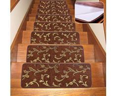 Seloom Stufenmatten mit Rutschfester Gummiunterseite, waschbar, rutschfest, speziell für Holzstufen im Innenbereich 25.5x9.5 Inch, 13Pieces braun