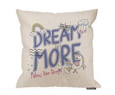 HGOD Designs Kissenbezug, niedliches Einhorn-Zitat Dream More mit Wolke und Regenbogen-Baumwoll-Leinen, Polyester-Dekoration, Sofa, Schreibtisch, Stuhl, Schlafzimmer, 40,6 x 40,6 cm 18x18 Inch A4-0029