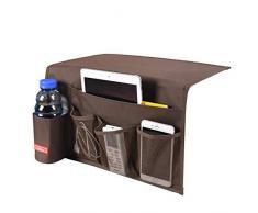 Falaku Nachttisch-Ablage mit 5 Taschen, Nachttisch Organizer Unterlage für Wasserflaschen, Zeitschriften, Bücher Coffee