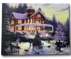 Banberry Designs LED-Wandkunst, Winterszene mit viktorianischem Haus in verschneiter Umgebung, beleuchtet Weihnachtsbeleuchtung in den Bäumen