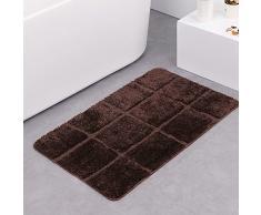 boncou Acht Squares Serie Mikrofaser Bad Teppiche rutschfeste Bad-Teppiche absorbierenden Badezimmer Teppiche Maschinenwaschbar (45,7 x 66 cm Zoll, 50,8 x 81,3 cm Zoll), Polyester-Mischgewebe, dunkelbraun, 20x32