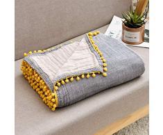 ECRISDOO Musselin-Überwurfdecke mit Bommel, 100% Baumwolle, 4-lagig, atmungsaktiv, vorgewaschen, leicht, warm, für Couch Sofa für alle Jahreszeiten, Erwachsene und Kinder 60 x 80 Grau mit gelber Pom