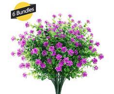 GREENRAIN 6 Bündel künstliche Blumen für den Außenbereich zur Dekoration, kein Verblassen aus Kunst-Kunststoff, Aglaia, Odorata, Garten, Veranda, Fenster, Box Dekoration, 6 Bündel 14 * 9 inch Fuchsia