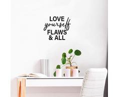 Vinyl-Wandaufkleber - Love Yourself Flaws & All - 55,9 x 63,5 cm - modernes inspirierendes Zitat für Zuhause, Schlafzimmer, Schrank, Badezimmer, Büro, Klassenzimmer, Schule, Dekoration