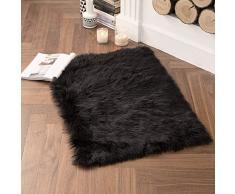 MIULEE Super weicher Flauschiger Teppich Kunstfell-Teppich Dekorativer Plüsch Zottelteppich für Nachttisch, Sofa, Boden, Kinderzimmer 2 x 3 ft Rectangle schwarz