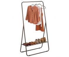 mDesign Kleiderstange – tragbarer Kleiderständer für Schlafzimmer, Schrank oder Eingangsbereich – praktischer Garderobenständer aus robustem Metall – bronzefarben