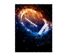 QH Einhorn und Sterne, Violett, Meerjungfrauen-Skala, rosa und blau, Meerjungfrau, solarbetrieben, amerikanisches Fußball-Muster, superweich, Überwurfdecke für Bett, Sofa, leichte Decke, Überwurf, Größe für Kinder und Erwachsene,