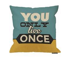 HGOD Designs Kissenbezug, mit inspirierendem Zitat You Only Live Once aus Baumwolle / Leinen / Polyester, Dekoration, Dekoration für Sofa, Schreibtisch, Stuhl, Schlafzimmer, 40,6 x 40,6 cm 18x18 Inch A9-0069