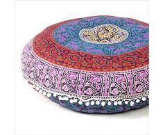 Indische schöne Bodenkissen Sitzbezug Hippie Hippie Dekorativer Bezug Größe 81,3 cm rund Pouf Bezug