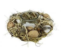 Natur-Windlicht Teelicht mit Eier, Federn und Glaseinsatz, Deko Kranz mit Blüten, Teelichthalter, Dekokranz, Kerzenhalter, Frühlingskranz, Teelichtkranz, Tischdeko, Frühjahr, Ostern, Osterdeko