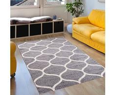 Tapiso JAWA Teppich Kurzflor   Modern Teppiche in Grau Weiss mit Designer Geometrisch Marokkanisch Muster   Perfekt für Wohnzimmer, Gästezimmer   ÖKOTEX 80 x 150 cm