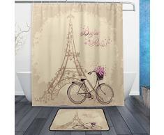 Romantische French Paris Eiffelturm Wasserdicht Polyester Stoff Vorhang für die Dusche (152,4 x 182,9 cm) Set mit 12 Haken und Bad-Teppiche Teppiche (59,9 x 39,9 cm) rutschfeste für Badezimmer – Set von 2