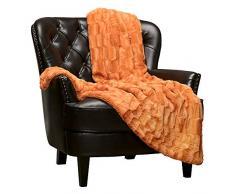 Chanasya Super Soft Fuzzy Fell Elegante Kunstfell rechteckig geprägtes Muster mit flauschigem Plüsch Sherpa Cozy Warme Tagesdecke, 100% Polyester, Orange, 50x65 inches