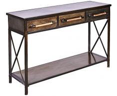 Better & Best Konsolentisch mit 3 Schubladen, 1 Einlegeboden aus Eisen, Maße: 125 x 41 x 81 cm, Material: Metall, Oxid, Einheitsgröße