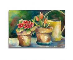 Premium Textil-Leinwand 120 x 80 cm Quer-Format Blumentöpfe   Wandbild, HD-Bild auf Keilrahmen, Fertigbild auf hochwertigem Vlies, Leinwanddruck von Jitka Krause