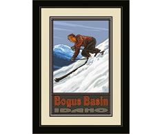 Northwest Art Mall pal-0252 mfgdm DSM Falsch Waschbecken Idaho Downhill Skifahrer Man Gerahmtes Wandbild Art von Künstler Paul A. lanquist, 13 von 40,6 cm
