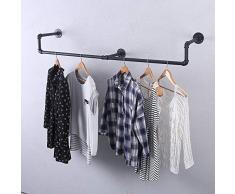 GWH Industrie-Rohr-Kleiderständer, Wandmontage, Vintage-Einzelhandel, Kleiderständer, Kleiderständer aus Metall, für hängende Kleidung, schwarzes Eisen, Kleiderstange für Wäsche, Zimmerdekoration (150 cm)
