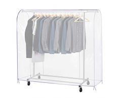 Growson Kleiderständer-Abdeckung, transparenter Staub-Kleiderbezug mit doppelter Durchgehender Frontreißverschluss, Abdeckung für Kleiderständer 59x20x52 inch