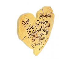 Spirit & Truth Tree Heart Heal Wandtafel He Healeth The Broken Hearted Psalm 147:3, Kratzfest mit tiefem Waschbecken, 30,5 x 30,5 x 1,9 cm