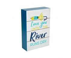 Pavillon Gift Company Dekoschild Love Runs Dry, 15,2 x 10,2 cm, horizontal stehend, Blau