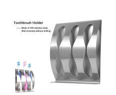 CrazySound Zahnbürstenhalter Ständer für Rasierer, Eberry® Edelstahl Selbstklebend Wand montiert Zahnbürstenhalter Accessoires für Bad WC Home Speicherung und Organizer, 3 Löcher