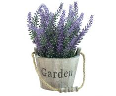 MyGift Kunstpflanze Lavendel, Blume in rustikalem Holz Garten Eimer Blumentopf, Kunstleder, braun