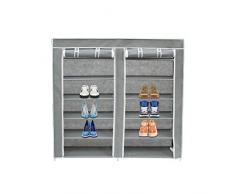 Sotech - Stoff-Garderobe, Stoffschrank, 2 Türen, Schuhschrank, 114 x 110 x 28 cm, Grau, Gewicht: 3 kg, Abschlusstyp: Klettteile und Reißverschluss