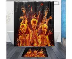 Moderne Flamme Sugar Skulls Tag der Toten Halloween Decor Wasserdicht Polyester Stoff Vorhang für die Dusche (152,4 x 182,9 cm) Set mit 12 Haken und Bad-Teppiche Teppiche (59,9 x 39,9 cm) für Badezimmer – Set von 2