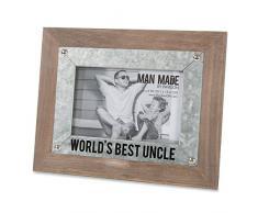Pavillon Bilderrahmen Worlds Best Uncle, Holz und Metall, 10 x 15 cm