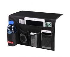 Falaku Nachttisch-Ablage mit 5 Taschen, Nachttisch Organizer Unterlage für Wasserflaschen, Zeitschriften, Bücher schwarz