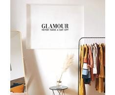Vinyl-Wandaufkleber - Glamour Never Takes A Day Off - 16,5 x 63,5 cm - trendiges witziges modisches Zitat für Zuhause, Schlafzimmer, Schrank, Wohnzimmer, Badezimmer, Kleidung, Geschäft, Dekoration