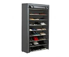 JEROAL Schuhregal Schuhschrank Stand-Organizer, 9 Etagen Schuhablage für 45 Paar Schuhaufbewahrung mit staubdichtem Vliesstoffbezug grau