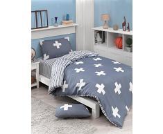 EnLora Home Bettdecke für Einzelbett, White Cosmic Blue, 155 x 220 cm, 2 Stück