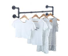 GWH Industrie-Rohr-Kleiderständer, Wandmontage, Vintage-Einzelhandel, Kleiderständer, Kleiderständer aus Metall, für hängende Kleidung, schwarzes Eisen industriell 39in schwarz