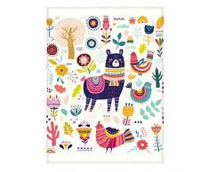 Manerly Llama Überwurfdecke für Bett Couch Sofa, farbenfrohes Muster mit Llama, Blumen, Vögel und Ethnischen Designelementen, leicht, superweich, warme Decke für Kinder und Erwachsene (152 x 203,2 cm) 60 x 80 Inches Multi 1