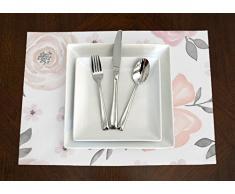 Eine luxehome Blush Pink, Grau, und Weiß Shabby Chic Watercolor Rose Floral Tisch-Sets Topper Tisch Badematten-Set von 4