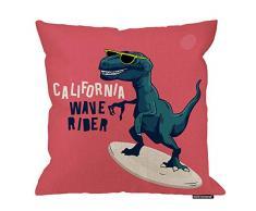 HGOD Designs Dinosaurier-Kissenbezug, lustiger Surfer Dinosaurier California Wave Rider Baumwolle Leinen Polyester Dekorative Home Decor Sofa Couch Schreibtisch Stuhl Schlafzimmer 40,6 x 40,6 cm 18x18 Inch A3-0033
